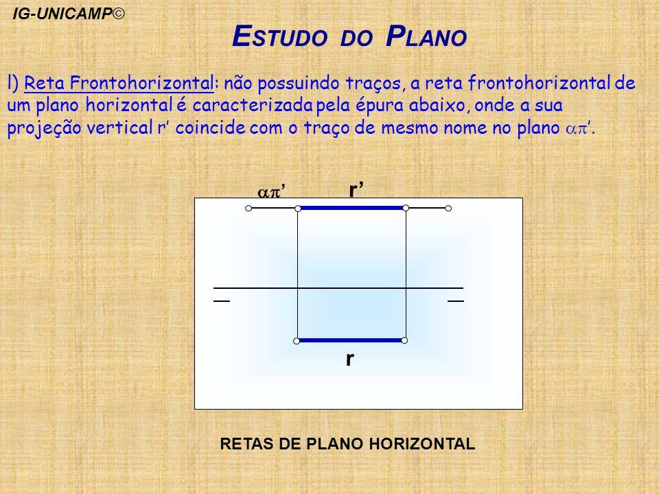 E STUDO DO P LANO r r l) Reta Frontohorizontal: não possuindo traços, a reta frontohorizontal de um plano horizontal é caracterizada pela épura abaixo