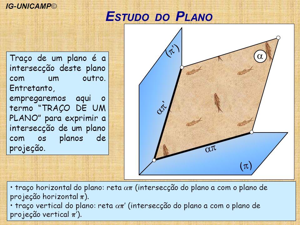 ( ) Traço de um plano é a intersecção deste plano com um outro. Entretanto, empregaremos aqui o termo TRAÇO DE UM PLANO para exprimir a intersecção de