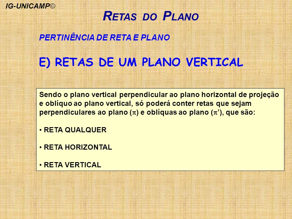 R ETAS DO P LANO PERTINÊNCIA DE RETA E PLANO Sendo o plano vertical perpendicular ao plano horizontal de projeção e oblíquo ao plano vertical, só pode