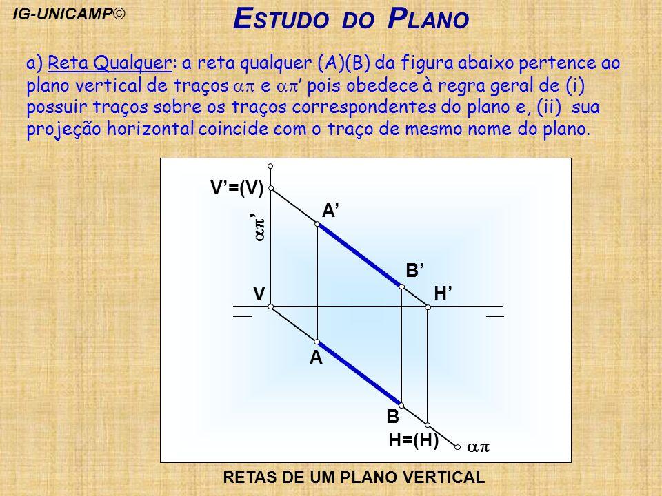 E STUDO DO P LANO V=(V) B A H V B A H=(H) RETAS DE UM PLANO VERTICAL a) Reta Qualquer: a reta qualquer (A)(B) da figura abaixo pertence ao plano verti