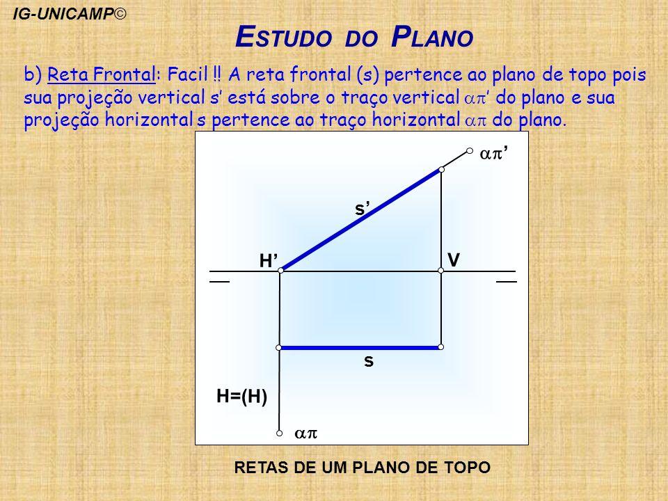 E STUDO DO P LANO b) Reta Frontal: Facil !! A reta frontal (s) pertence ao plano de topo pois sua projeção vertical s está sobre o traço vertical do p