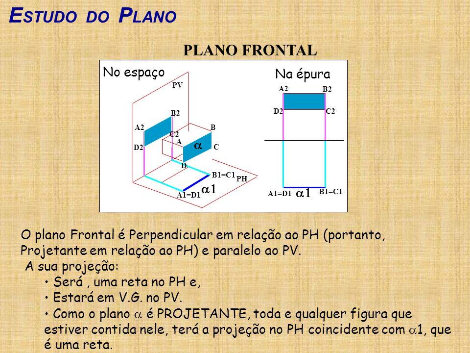 E STUDO DO P LANO PLANO FRONTAL O plano Frontal é Perpendicular em relação ao PH (portanto, Projetante em relação ao PH) e paralelo ao PV. A sua proje