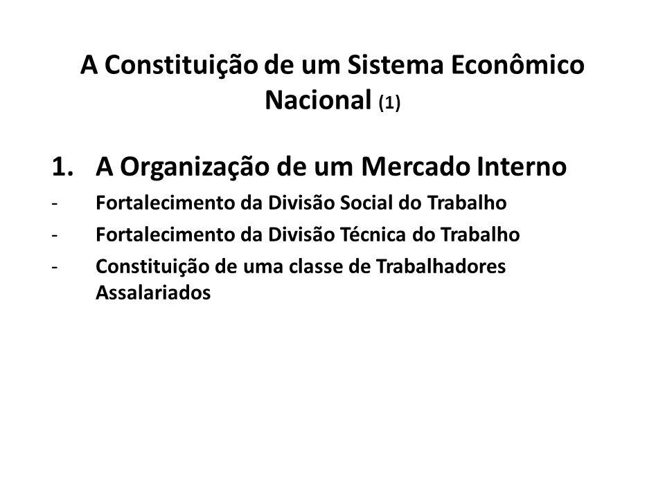 A Constituição de um Sistema Econômico Nacional (1) 1.A Organização de um Mercado Interno -Fortalecimento da Divisão Social do Trabalho -Fortalecimento da Divisão Técnica do Trabalho -Constituição de uma classe de Trabalhadores Assalariados
