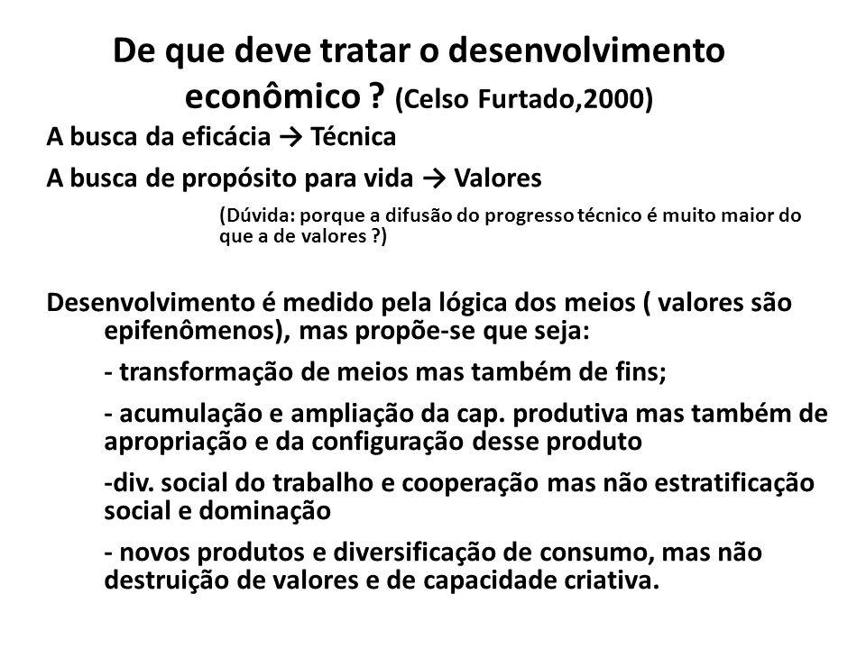 De que deve tratar o desenvolvimento econômico ? (Celso Furtado,2000) A busca da eficácia Técnica A busca de propósito para vida Valores (Dúvida: porq