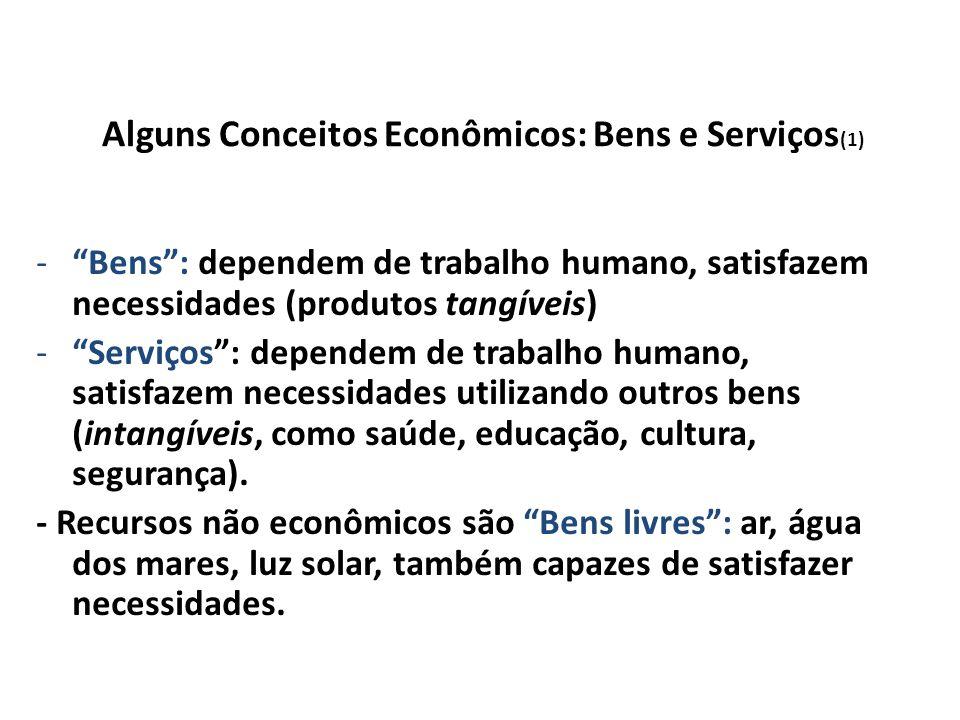 Alguns Conceitos Econômicos: Bens e Serviços (1) -Bens: dependem de trabalho humano, satisfazem necessidades (produtos tangíveis) -Serviços: dependem de trabalho humano, satisfazem necessidades utilizando outros bens (intangíveis, como saúde, educação, cultura, segurança).
