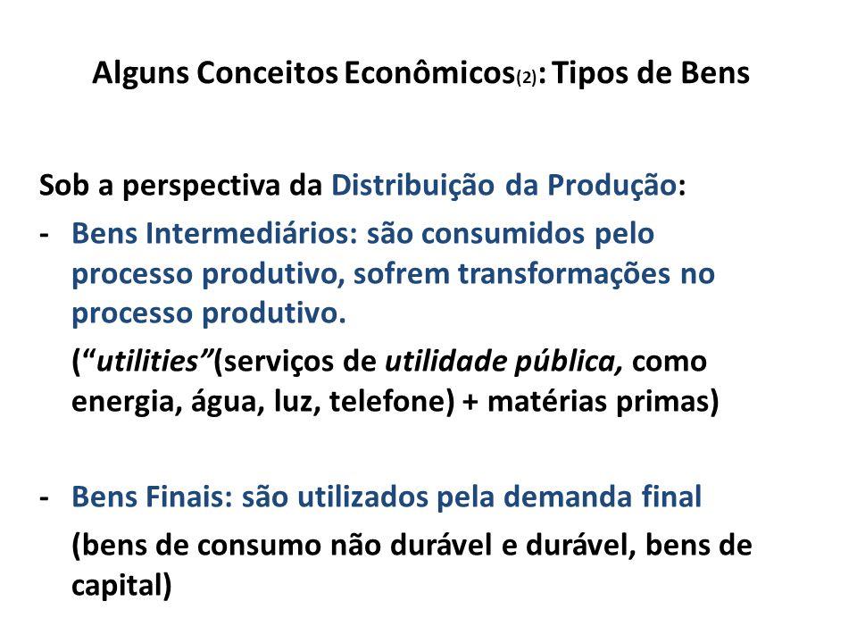 Alguns Conceitos Econômicos (2) : Tipos de Bens Sob a perspectiva da Distribuição da Produção: -Bens Intermediários: são consumidos pelo processo produtivo, sofrem transformações no processo produtivo.