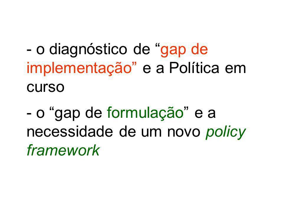 - o diagnóstico de gap de implementação e a Política em curso - o gap de formulação e a necessidade de um novo policy framework