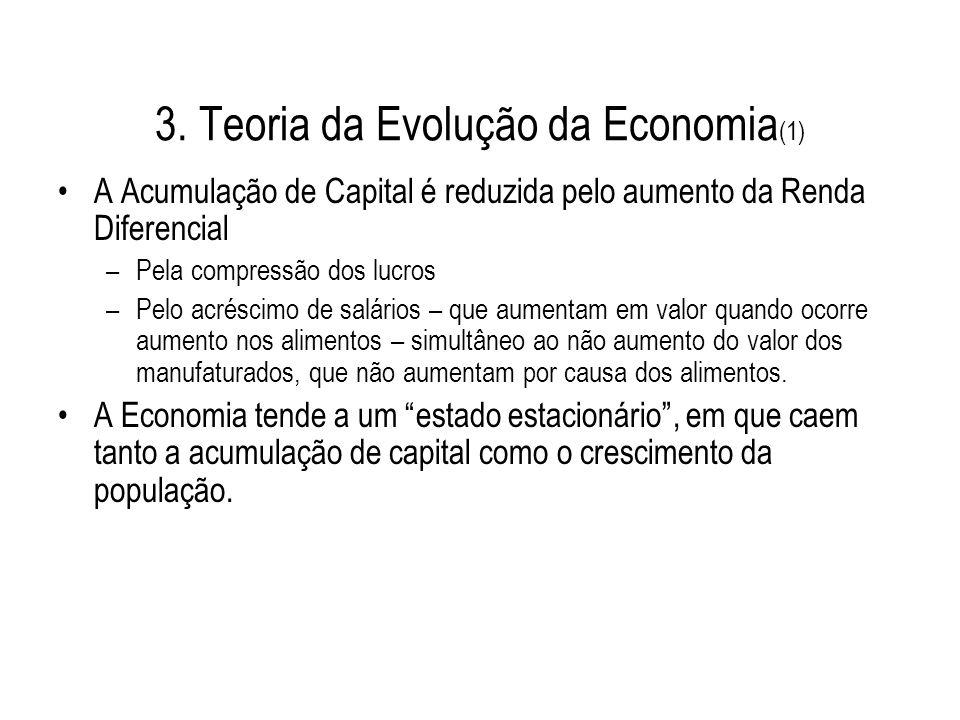 3. Teoria da Evolução da Economia (1) A Acumulação de Capital é reduzida pelo aumento da Renda Diferencial –Pela compressão dos lucros –Pelo acréscimo