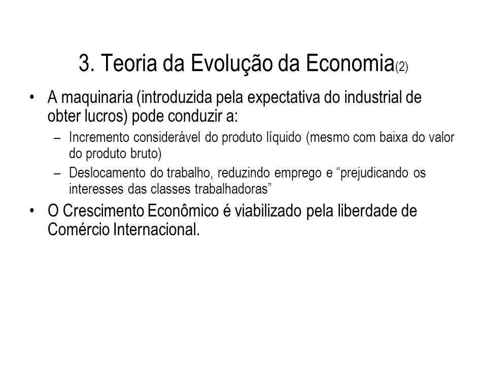3. Teoria da Evolução da Economia (2) A maquinaria (introduzida pela expectativa do industrial de obter lucros) pode conduzir a: –Incremento considerá