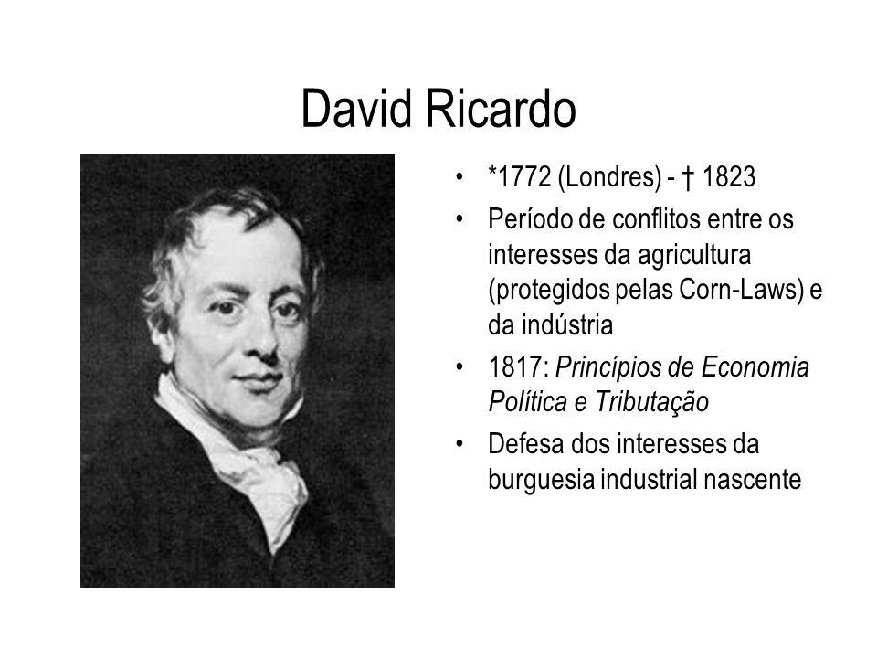 David Ricardo *1772 (Londres) - 1823 Período de conflitos entre os interesses da agricultura (protegidos pelas Corn-Laws) e da indústria 1817: Princíp