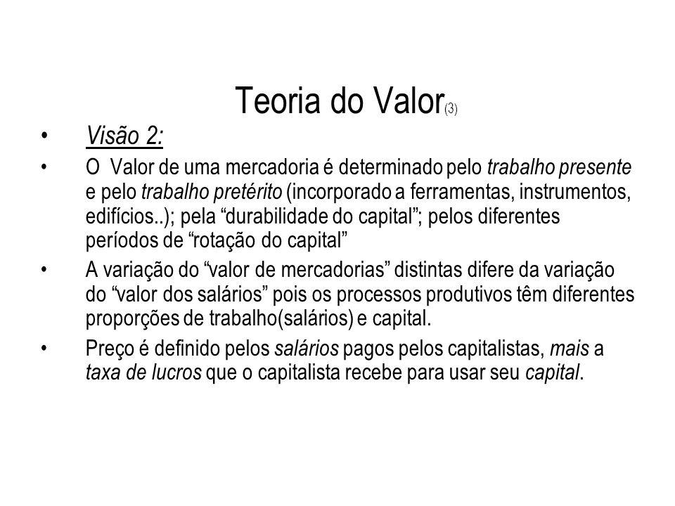 Teoria do Valor (3) Visão 2: O Valor de uma mercadoria é determinado pelo trabalho presente e pelo trabalho pretérito (incorporado a ferramentas, inst