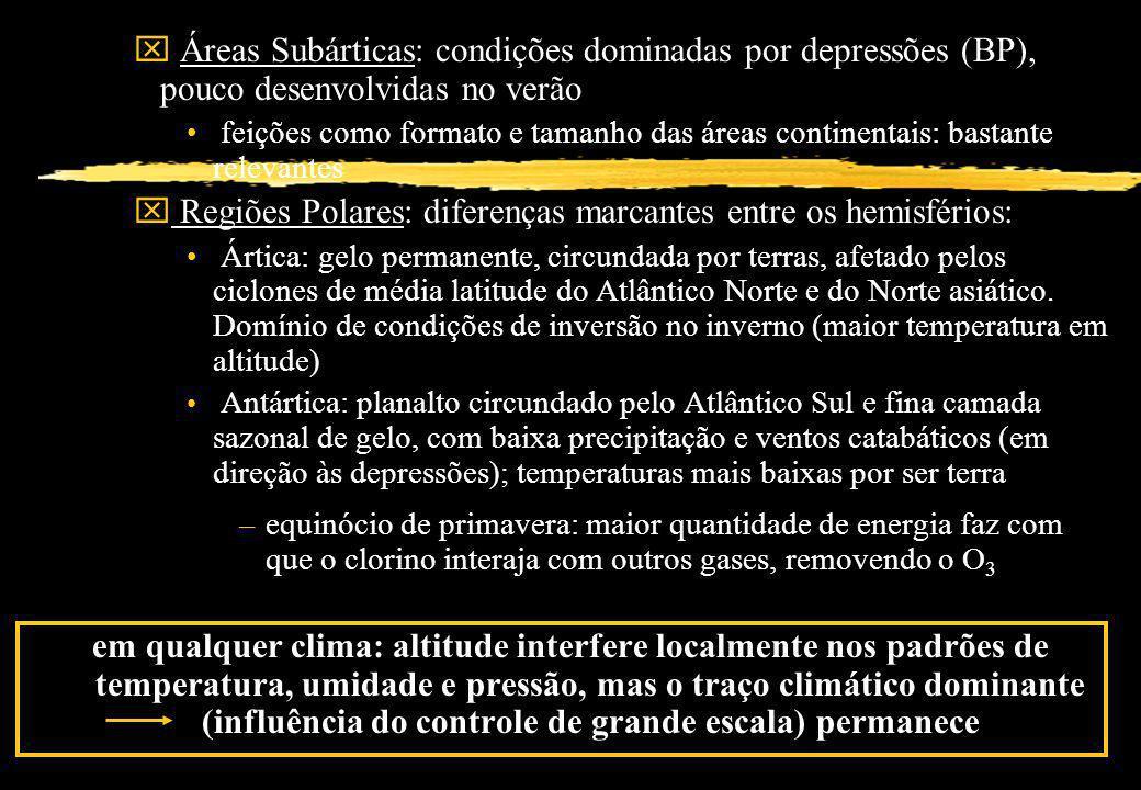 x Áreas Subárticas: condições dominadas por depressões (BP), pouco desenvolvidas no verão feições como formato e tamanho das áreas continentais: basta