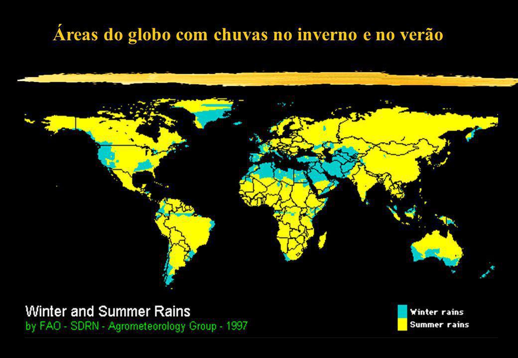 Áreas do globo com chuvas no inverno e no verão