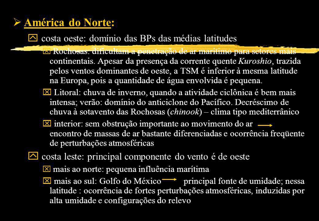 América do Norte: ampla gama latitudinal e topográfica y costa oeste: domínio das BPs das médias latitudes x Rochosas: dificultam a penetração de ar m