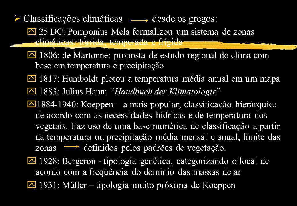 Classificações climáticas desde os gregos: y 25 DC: Pomponius Mela formalizou um sistema de zonas climáticas: tórrida, temperada e frígida y 1806: de
