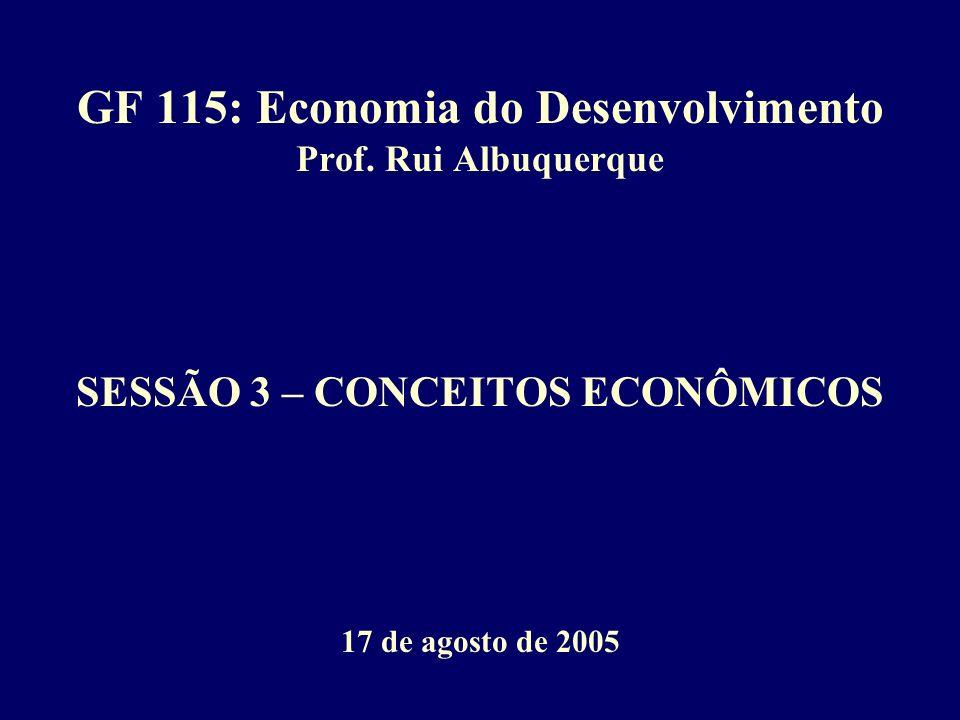 GF 115: Economia do Desenvolvimento Prof. Rui Albuquerque SESSÃO 3 – CONCEITOS ECONÔMICOS 17 de agosto de 2005