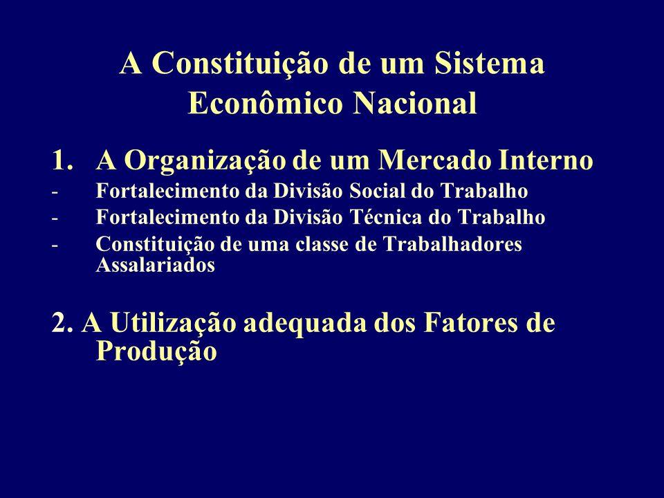 A Constituição de um Sistema Econômico Nacional 1.A Organização de um Mercado Interno -Fortalecimento da Divisão Social do Trabalho -Fortalecimento da