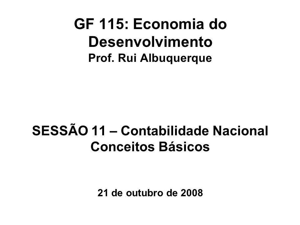 GF 115: Economia do Desenvolvimento Prof. Rui Albuquerque SESSÃO 11 – Contabilidade Nacional Conceitos Básicos 21 de outubro de 2008
