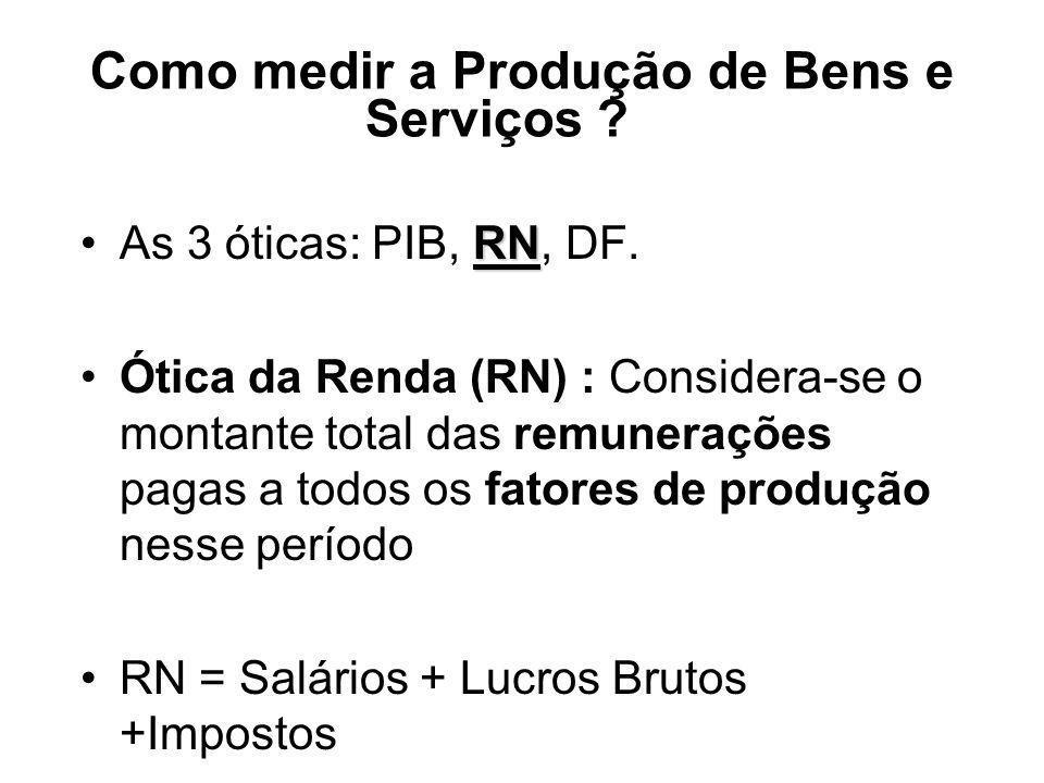 Como medir a Produção de Bens e Serviços ? RNAs 3 óticas: PIB, RN, DF. Ótica da Renda (RN) : Considera-se o montante total das remunerações pagas a to