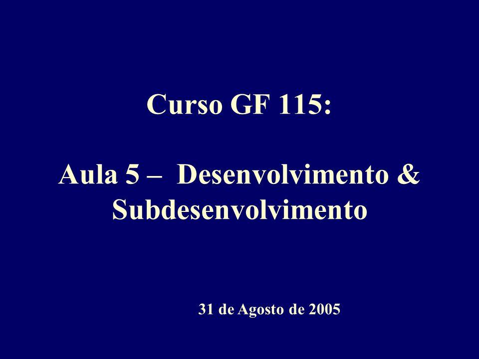 Curso GF 115: Aula 5 – Desenvolvimento & Subdesenvolvimento 31 de Agosto de 2005