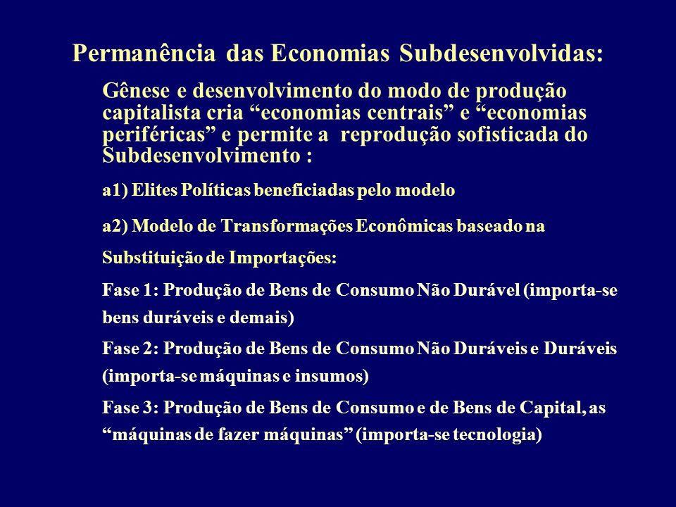 Permanência das Economias Subdesenvolvidas: Gênese e desenvolvimento do modo de produção capitalista cria economias centrais e economias periféricas e
