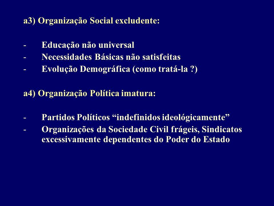 a3) Organização Social excludente: -Educação não universal -Necessidades Básicas não satisfeitas -Evolução Demográfica (como tratá-la ?) a4) Organizaç