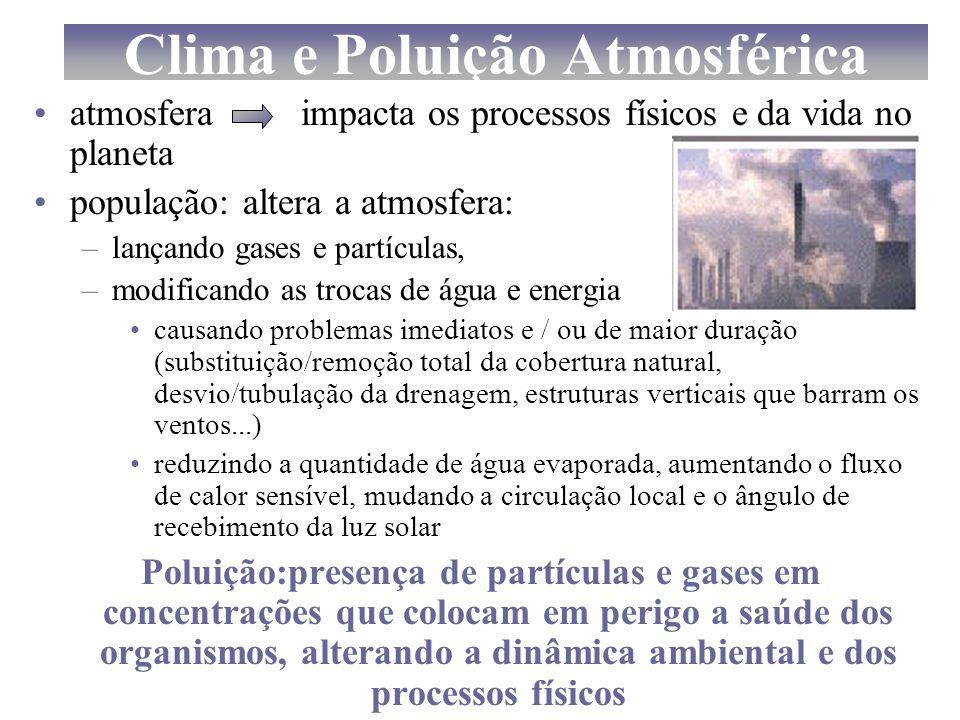Clima e Poluição Atmosférica atmosfera impacta os processos físicos e da vida no planeta população: altera a atmosfera: –lançando gases e partículas,
