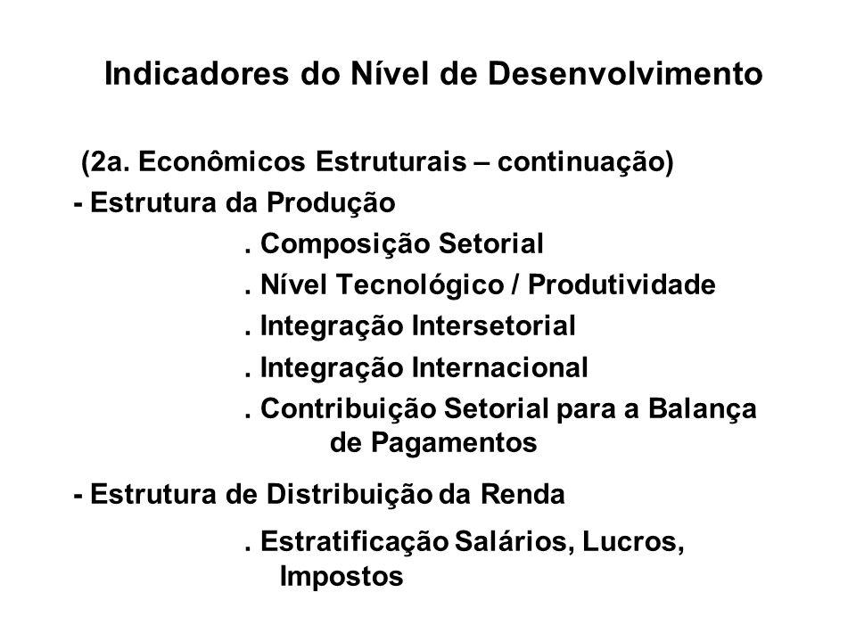Indicadores do Nível de Desenvolvimento (2a. Econômicos Estruturais – continuação) - Estrutura da Produção. Composição Setorial. Nível Tecnológico / P