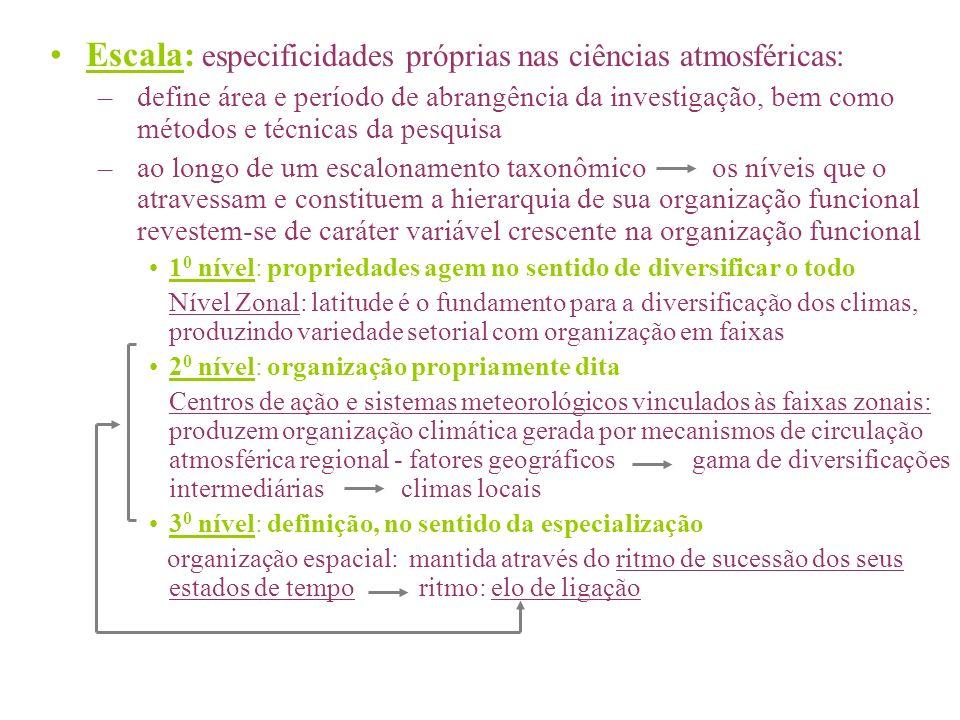 Escala: especificidades próprias nas ciências atmosféricas: –define área e período de abrangência da investigação, bem como métodos e técnicas da pesq