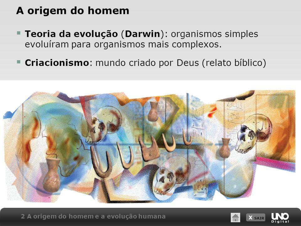 X SAIR A origem do homem Teoria da evolução (Darwin): organismos simples evoluíram para organismos mais complexos. Criacionismo: mundo criado por Deus