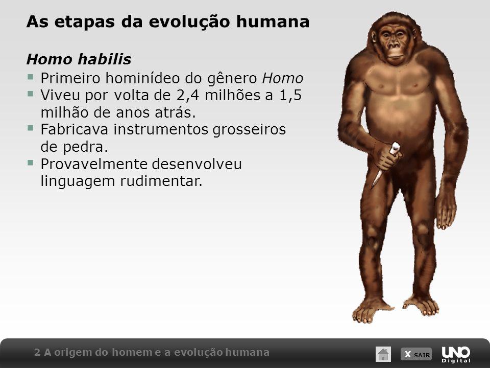 X SAIR 2 A origem do homem e a evolução humana As etapas da evolução humana Homo habilis Primeiro hominídeo do gênero Homo Viveu por volta de 2,4 milh