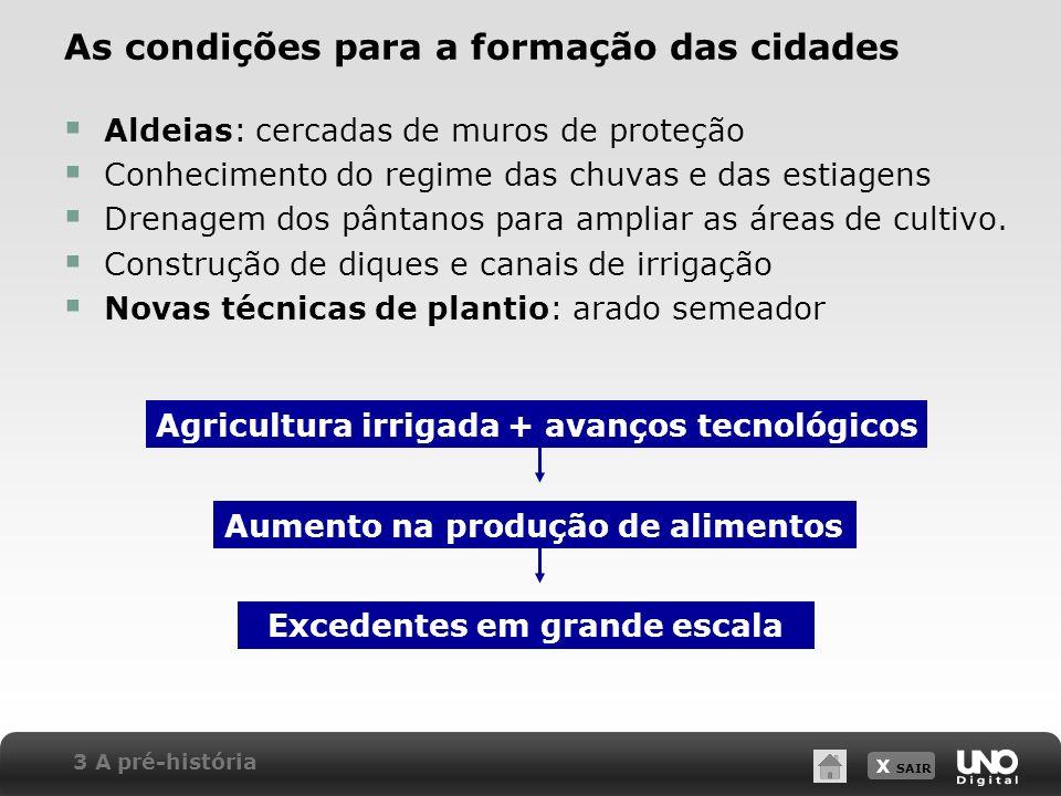 X SAIR As condições para a formação das cidades Aldeias: cercadas de muros de proteção Conhecimento do regime das chuvas e das estiagens Drenagem dos