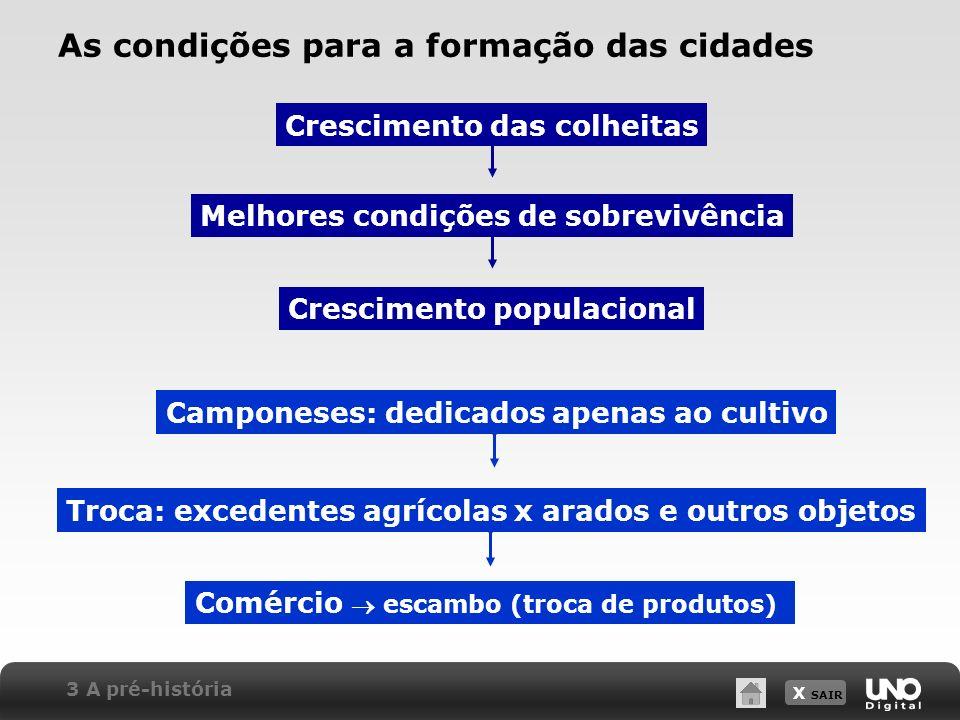 X SAIR As condições para a formação das cidades Crescimento das colheitas Melhores condições de sobrevivência Crescimento populacional Camponeses: ded
