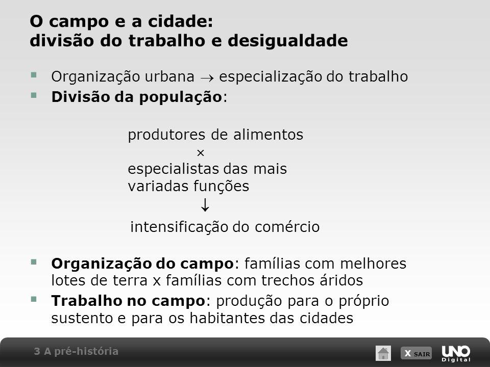 X SAIR O campo e a cidade: divisão do trabalho e desigualdade Organização urbana especialização do trabalho Divisão da população: produtores de alimen