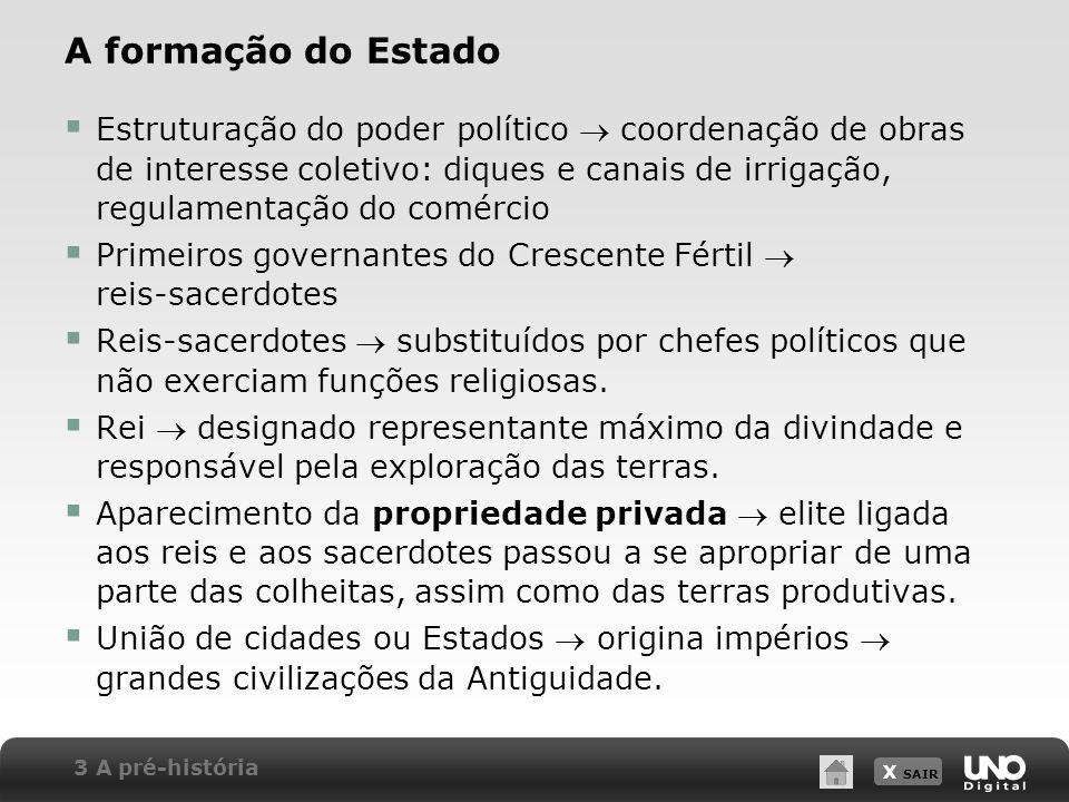 X SAIR A formação do Estado Estruturação do poder político coordenação de obras de interesse coletivo: diques e canais de irrigação, regulamentação do