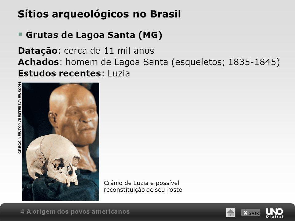 X SAIR Sítios arqueológicos no Brasil Grutas de Lagoa Santa (MG) Datação: cerca de 11 mil anos Achados: homem de Lagoa Santa (esqueletos; 1835-1845) E