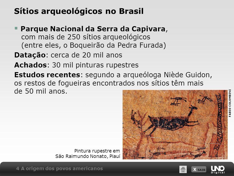 X SAIR Sítios arqueológicos no Brasil Parque Nacional da Serra da Capivara, com mais de 250 sítios arqueológicos (entre eles, o Boqueirão da Pedra Fur