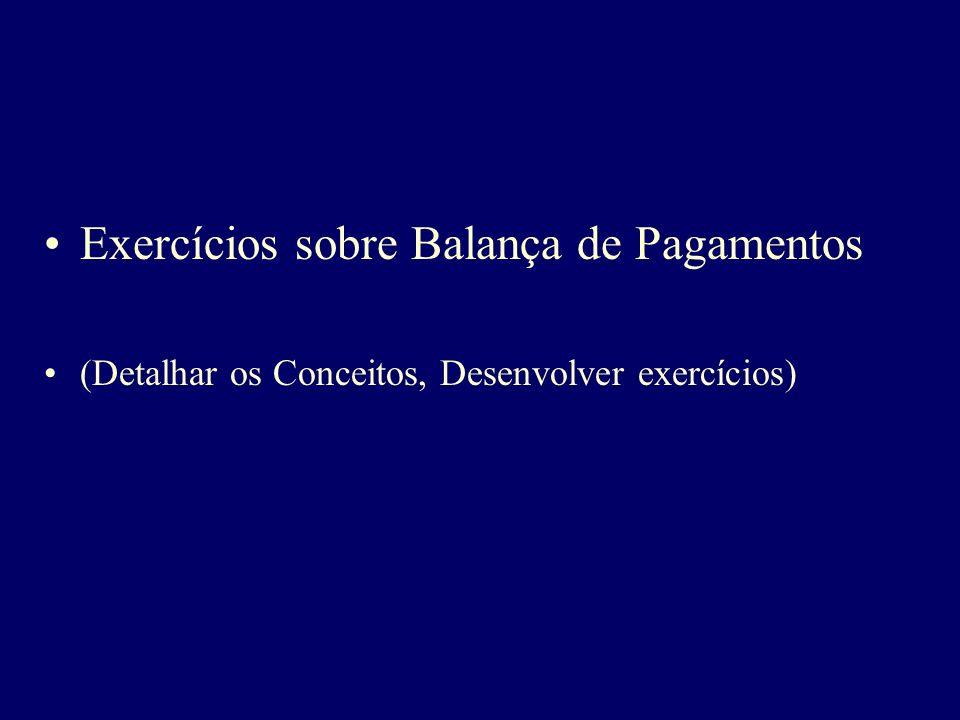 Exercícios sobre Balança de Pagamentos (Detalhar os Conceitos, Desenvolver exercícios)
