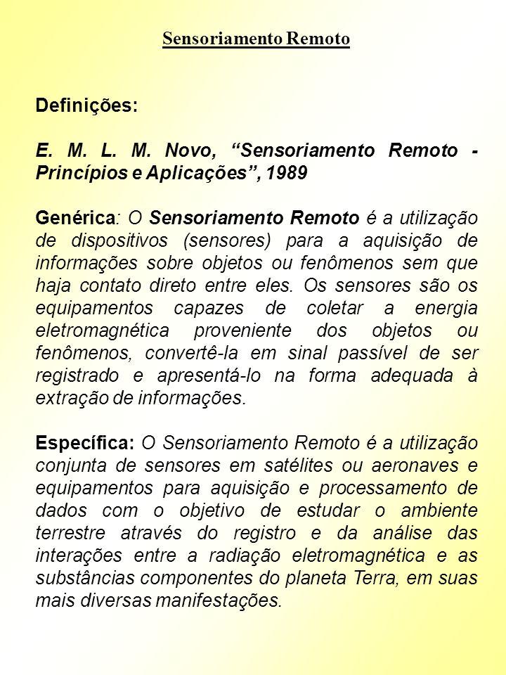 Sensoriamento Remoto Definições: E. M. L. M. Novo, Sensoriamento Remoto - Princípios e Aplicações, 1989 Genérica: O Sensoriamento Remoto é a utilizaçã