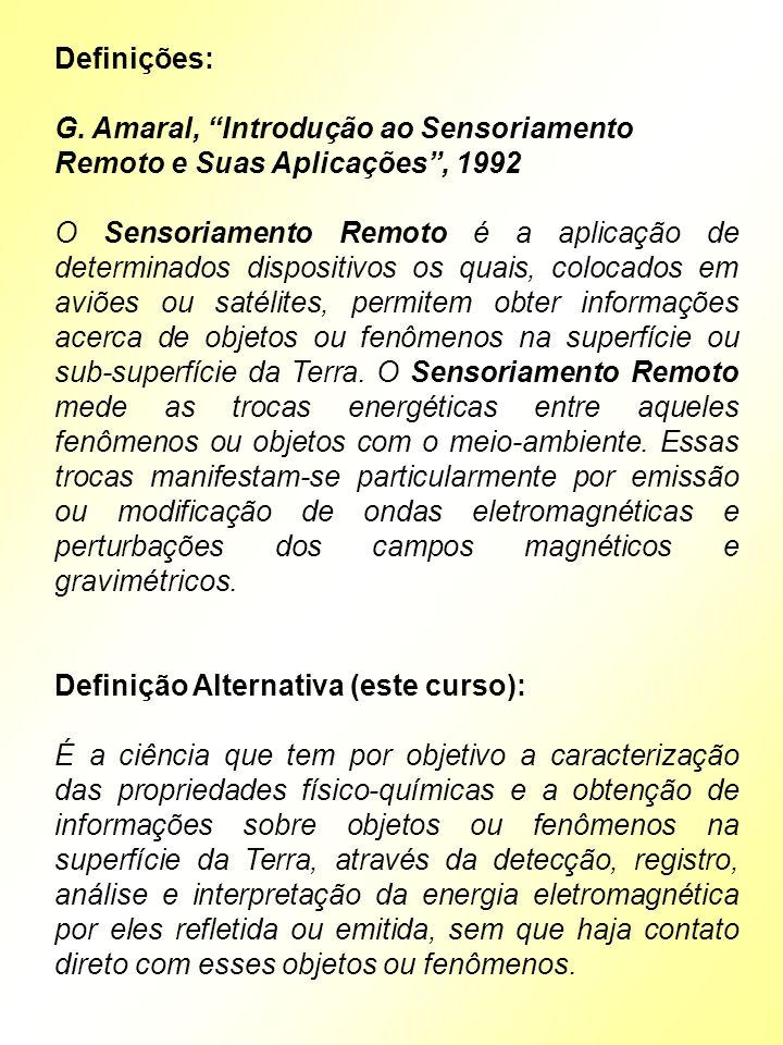 Definições: G. Amaral, Introdução ao Sensoriamento Remoto e Suas Aplicações, 1992 O Sensoriamento Remoto é a aplicação de determinados dispositivos os