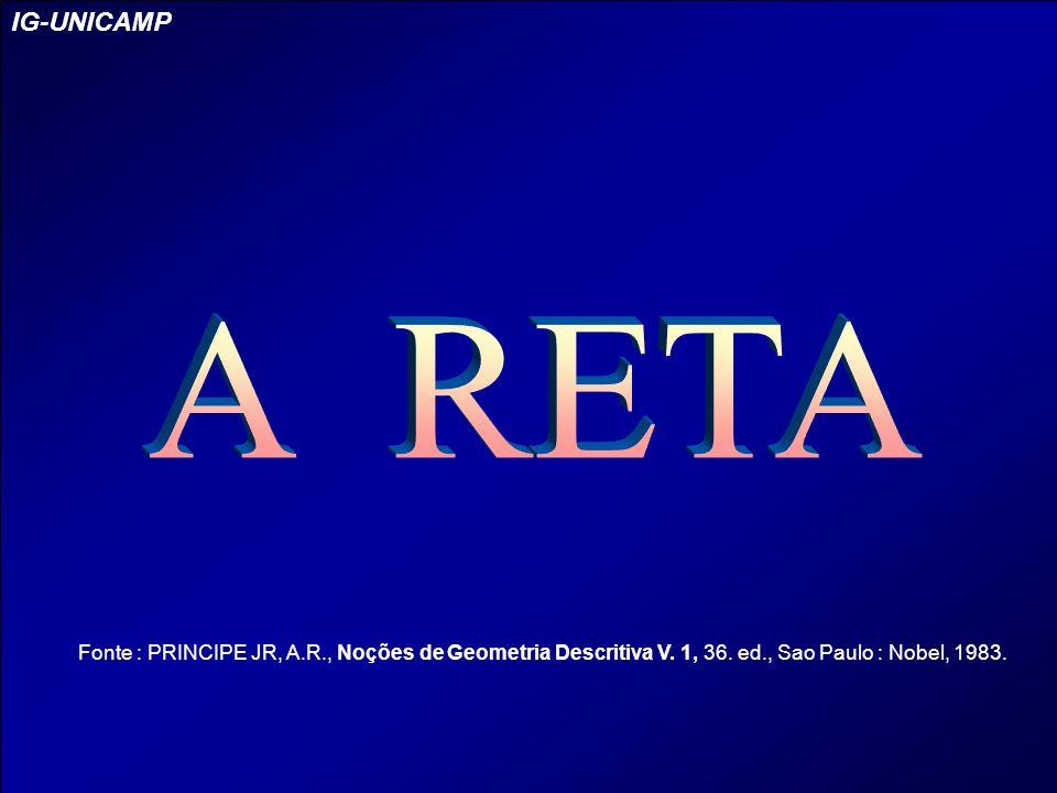 ( S ) (u) ( I ) ( A ) ( P ) u P OSIÇÕES DA R ETA Outros exemplos: Reta (u) vertical no ( S ) IG-UNICAMP