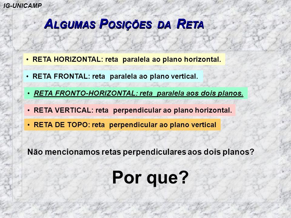A LGUMAS P OSIÇÕES DA R ETA RETA HORIZONTAL: reta paralela ao plano horizontal. RETA FRONTAL: reta paralela ao plano vertical. RETA FRONTO-HORIZONTAL: