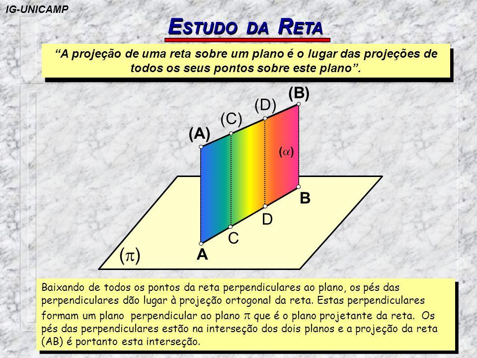 TRAÇOS DE RETA DE PERFIL P OSIÇÕES DA R ETA PASSO 2 EM ÉPURA: - teremos em (A 1 )(B 1 ) a verdadeira grandeza da reta (A)(B) - através do prolongamento superior da reta (A 1 )(B 1 ) podemos derivar o traço vertical (V)=V da reta (A)(B) (A 1 ) (B 1 ) A2 B2 H=V A1A1 B1B1 A1 V=(V) B1 IG-UNICAMP