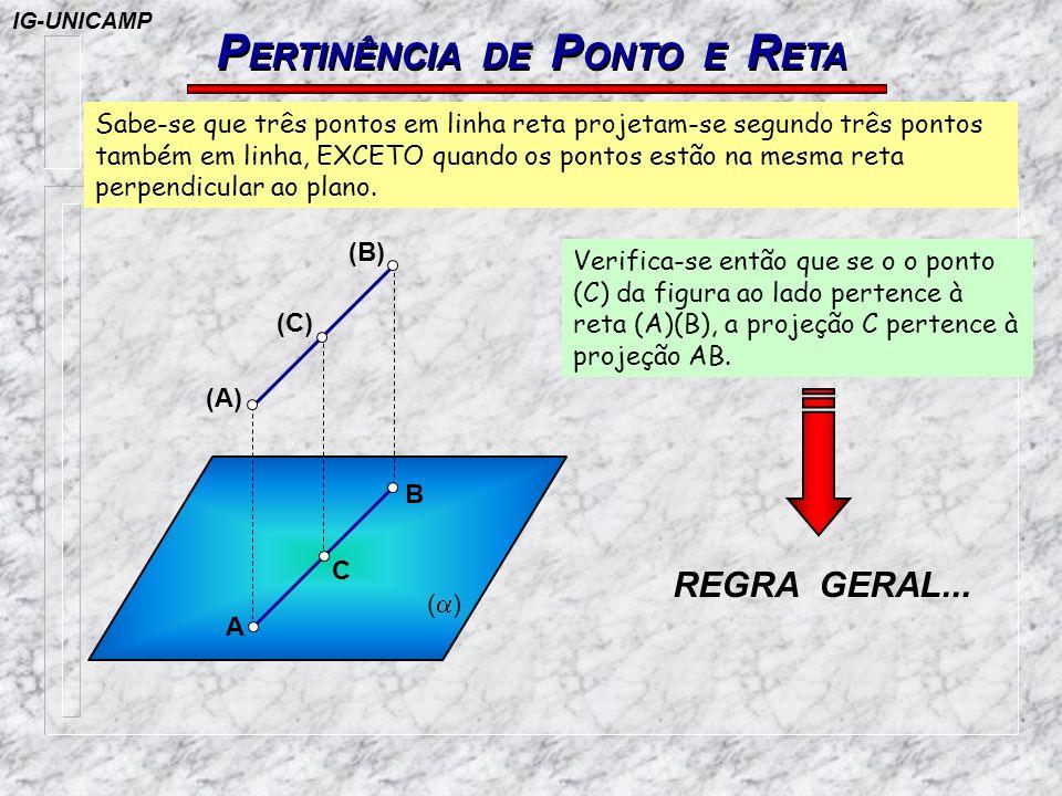 P ERTINÊNCIA DE P ONTO E R ETA ( ) A C (A) (C) (B) B Sabe-se que três pontos em linha reta projetam-se segundo três pontos também em linha, EXCETO qua