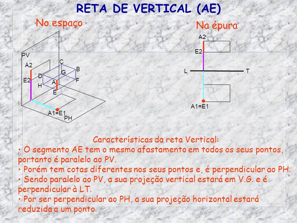 RETA DE VERTICAL (AE) No espaço Na épura Características da reta Vertical: O segmento AE tem o mesmo afastamento em todos os seus pontos, portanto é p