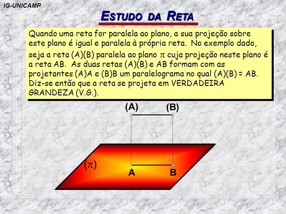 E STUDO DA R ETA A (B) (A) ( ) B Quando uma reta for paralela ao plano, a sua projeção sobre este plano é igual e paralela à própria reta. No exemplo
