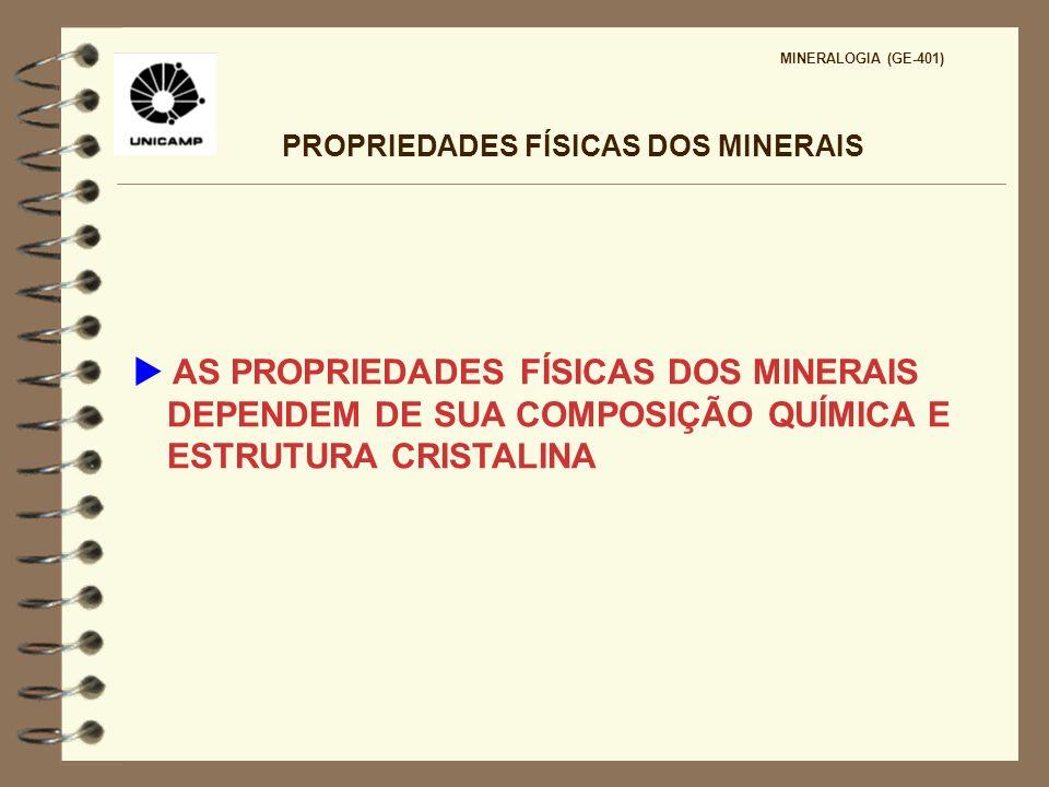 PROPRIEDADES FÍSICAS DOS MINERAIS MINERALOGIA (GE-401) COR E BRILHO Resultam da interação da luz visível (350 - 750 nm) do espectro eletromagnético com a matéria cristalina A cor de um mineral relaciona-se com a sua capacidade de absorver a luz.