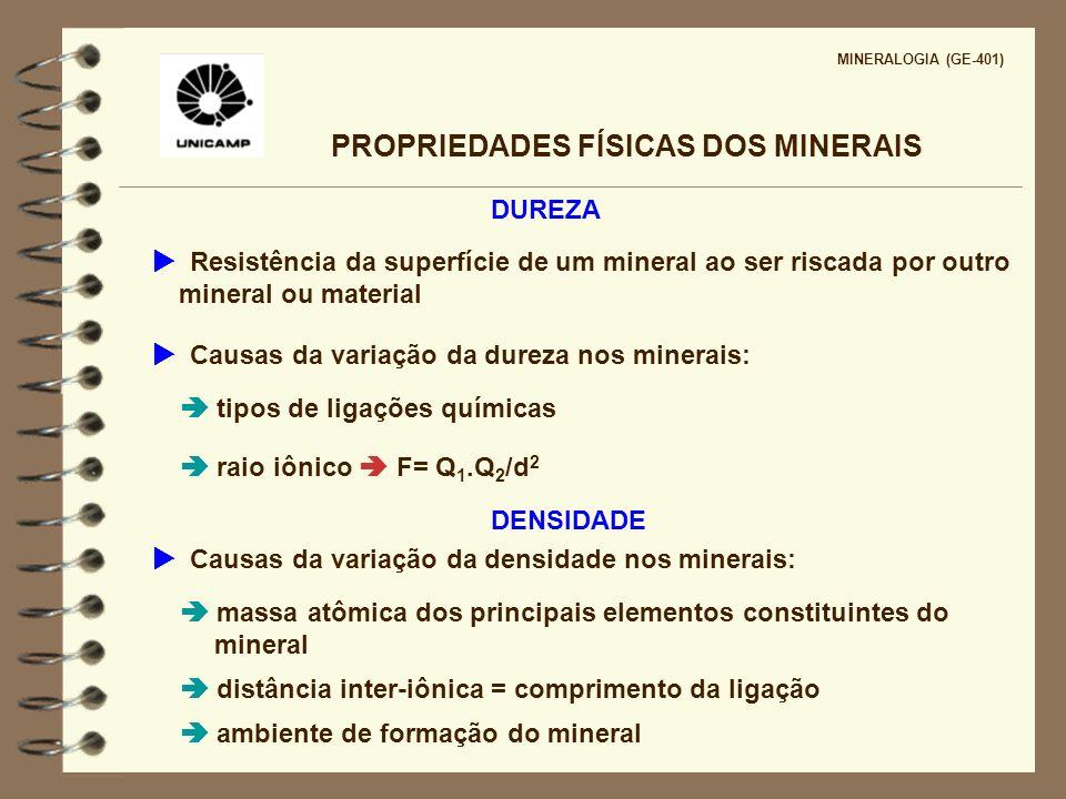 PROPRIEDADES FÍSICAS DOS MINERAIS MINERALOGIA (GE-401) DUREZA Resistência da superfície de um mineral ao ser riscada por outro mineral ou material Cau