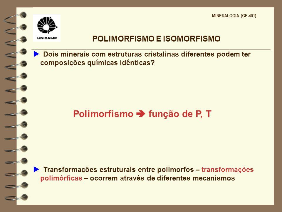 POLIMORFISMO E ISOMORFISMO MINERALOGIA (GE-401) Dois minerais com estruturas cristalinas diferentes podem ter composições químicas idênticas? Polimorf