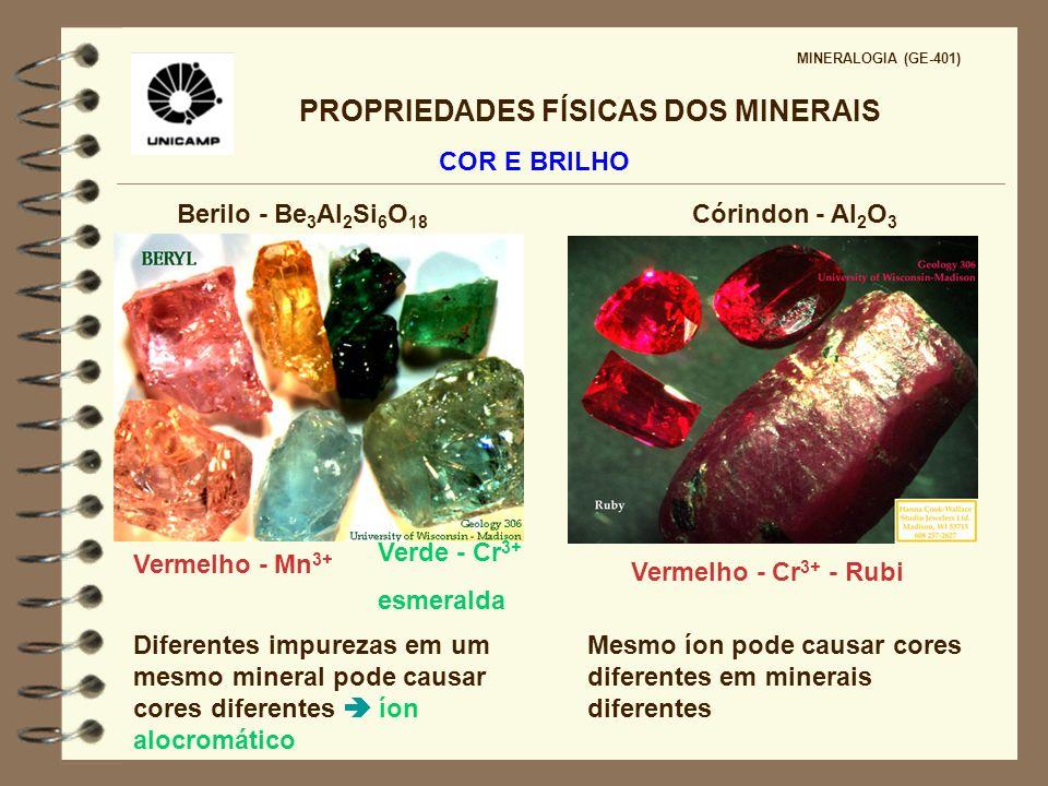 PROPRIEDADES FÍSICAS DOS MINERAIS MINERALOGIA (GE-401) COR E BRILHO Brilho: forma pela qual a luz é transmitida ou refletida na superfície de um mineral Brilho metálico elementos nativos, grande parte dos sulfetos e alguns óxidos Brilho não metálico 70% dos minerais silicatos, carbonatos, sulfatos, fosfatos, haletos, hidróxidos Não há limites claramente definidos entre metálico e não metálico propriedade diagnóstica apenas para minerais com brilho especial mineral pode ter brilho diferente em amostras diferentes